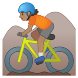 Person Mountain Biking: Medium Skin Tone on Google Android 10.0