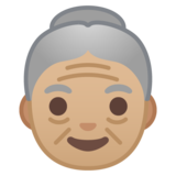 Old Woman: Medium-Light Skin Tone on Google Android 10.0