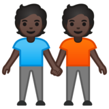 People Holding Hands: Dark Skin Tone on Google Android 10.0