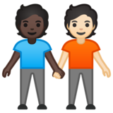 People Holding Hands: Dark Skin Tone, Light Skin Tone on Google Android 10.0