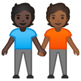 People Holding Hands: Dark Skin Tone, Medium-Dark Skin Tone on Google Android 10.0