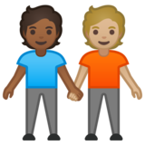 People Holding Hands: Medium-Dark Skin Tone, Medium-Light Skin Tone on Google Android 10.0