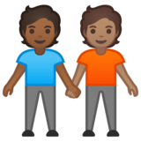 People Holding Hands: Medium-Dark Skin Tone, Medium Skin Tone on Google Android 10.0