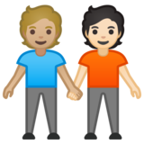 People Holding Hands: Medium-Light Skin Tone, Light Skin Tone on Google Android 10.0