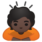 Person Bowing: Dark Skin Tone on Google Android 10.0