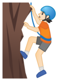 Person Climbing: Light Skin Tone on Google Android 10.0