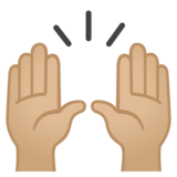 Raising Hands: Medium-Light Skin Tone on Google Android 10.0