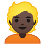 Person: Dark Skin Tone, Blond Hair on Google Android 10.0