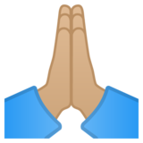 Folded Hands: Medium-Light Skin Tone on Google Android 10.0