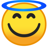 Smiling Face With Halo on Google Android 10.0