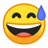 Grinning Face With Sweat on Google Android 10.0