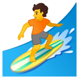 Person Surfing on Google Android 10.0