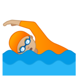 Person Swimming: Medium-Light Skin Tone on Google Android 10.0