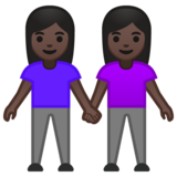 Women Holding Hands: Dark Skin Tone on Google Android 10.0