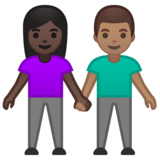 Woman and Man Holding Hands: Dark Skin Tone, Medium Skin Tone on Google Android 10.0