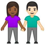 Woman and Man Holding Hands: Medium-Dark Skin Tone, Light Skin Tone on Google Android 10.0