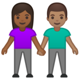 Woman and Man Holding Hands: Medium-Dark Skin Tone, Medium Skin Tone on Google Android 10.0