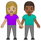 Woman and Man Holding Hands: Medium-Light Skin Tone, Medium-Dark Skin Tone on Google Android 10.0