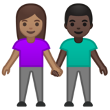 Woman and Man Holding Hands: Medium Skin Tone, Dark Skin Tone on Google Android 10.0