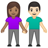 Woman and Man Holding Hands: Medium Skin Tone, Light Skin Tone on Google Android 10.0