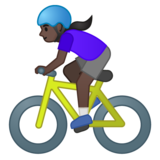 Woman Biking: Dark Skin Tone on Google Android 10.0