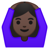 Woman Gesturing OK: Dark Skin Tone on Google Android 10.0