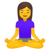 Woman in Lotus Position on Google Android 10.0