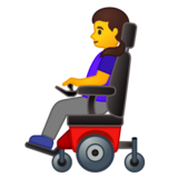 Woman in Motorized Wheelchair on Google Android 10.0