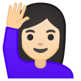 Woman Raising Hand: Light Skin Tone on Google Android 10.0