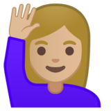 Woman Raising Hand: Medium-Light Skin Tone on Google Android 10.0