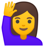 Woman Raising Hand on Google Android 10.0