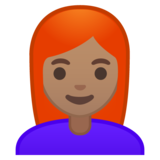 Woman: Medium Skin Tone, Red Hair on Google Android 10.0