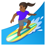 Woman Surfing: Medium-Dark Skin Tone on Google Android 10.0