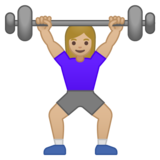 Woman Lifting Weights: Medium-Light Skin Tone on Google Android 10.0