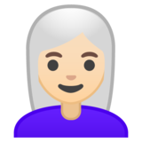 Woman: Light Skin Tone, White Hair on Google Android 10.0