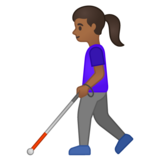 Woman with White Cane: Medium-Dark Skin Tone on Google Android 10.0