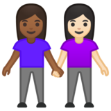 Women Holding Hands: Medium-Dark Skin Tone, Light Skin Tone on Google Android 10.0
