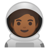 Astronaut: Medium-Dark Skin Tone on Google Android 10.0 March 2020 Feature Drop