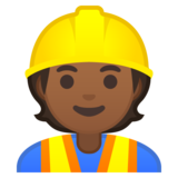 Construction Worker: Medium-Dark Skin Tone on Google Android 10.0 March 2020 Feature Drop