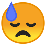 Downcast Face with Sweat on Google Android 10.0 March 2020 Feature Drop