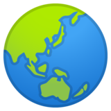 Globe Showing Asia-Australia on Google Android 10.0 March 2020 Feature Drop