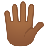 Hand with Fingers Splayed: Medium-Dark Skin Tone on Google Android 10.0 March 2020 Feature Drop