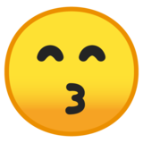 Kissing Face with Smiling Eyes on Google Android 10.0 March 2020 Feature Drop