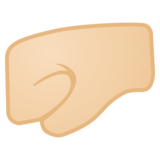 Left-Facing Fist: Light Skin Tone on Google Android 10.0 March 2020 Feature Drop
