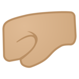 Left-Facing Fist: Medium-Light Skin Tone on Google Android 10.0 March 2020 Feature Drop