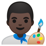 Man Artist: Dark Skin Tone on Google Android 10.0 March 2020 Feature Drop