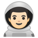 Man Astronaut: Light Skin Tone on Google Android 10.0 March 2020 Feature Drop