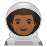 Man Astronaut: Medium-Dark Skin Tone on Google Android 10.0 March 2020 Feature Drop