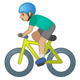 Man Biking: Medium-Light Skin Tone on Google Android 10.0 March 2020 Feature Drop