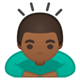 Man Bowing: Medium-Dark Skin Tone on Google Android 10.0 March 2020 Feature Drop